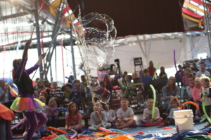 Giant bubbles were a feature of this school holiday circus show